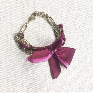 Ann Taylor Loft Gold chain with Ribbon bracelet